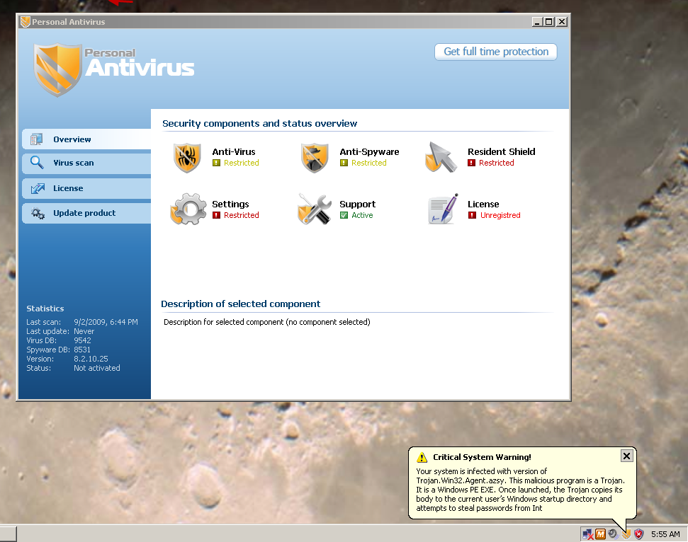 Example of a virus claiming to be an antivirus or antispyware program